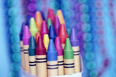 school supplies colorful crayons