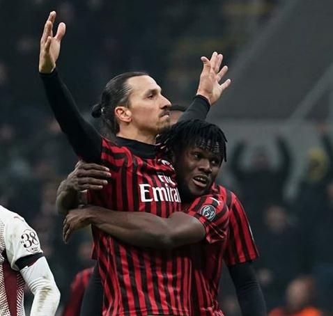Zlatan Ibrahimovich on the scoring track for AC Milan