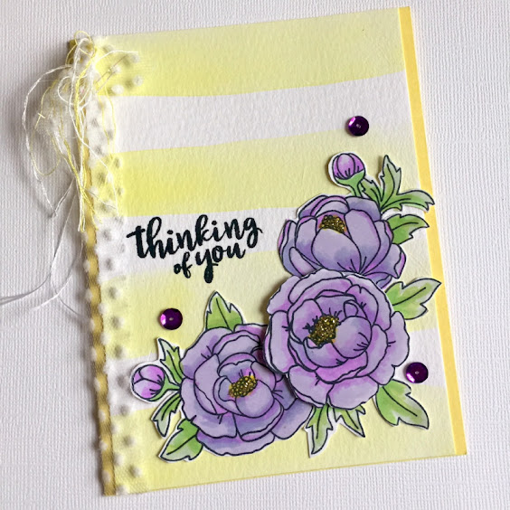Thinking of You by Donna features Peony Blooms by Newton's Nook Designs; #newtonsnook, #inkypaws, #floralcards, #cardmaking