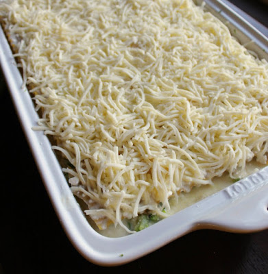pan of alredo lasagna covered with shredded mozzarella ready to go in oven