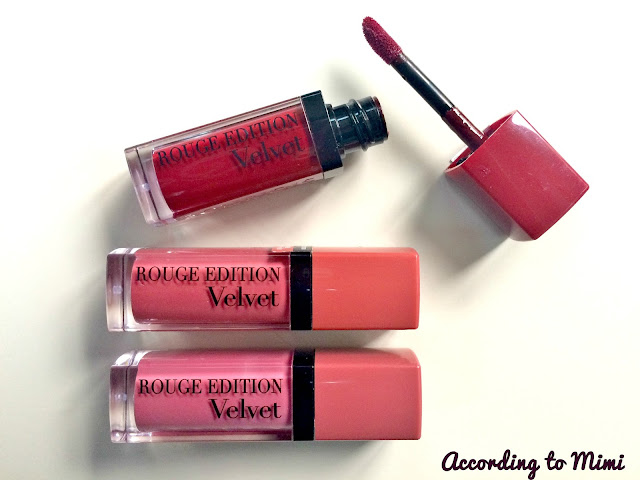 Bourjois Rouge Edition Velvet Liquid Lipsticks in 07 Nude-ist, 08 Grand Cru and 12 Bea brun