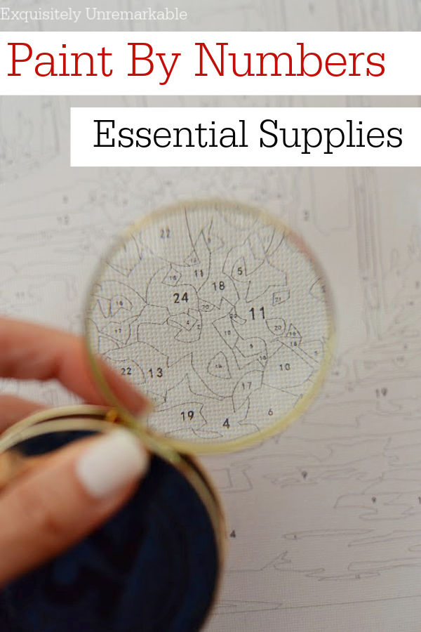 Paint By Numbers Essential Supplies Pin photo of magnifying glass on canvas
