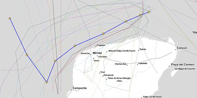 Gamma, a la deriva, se acerca a la costa; el martes a 85 km de Mérida y pasará rozando Celestún a 50 km