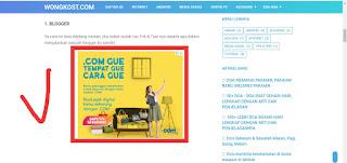 contoh iklan dispay di tengah Artikel