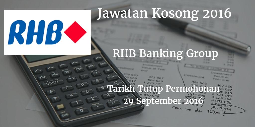 Jawatan Kosong RHB Banking Group 29 September 2016
