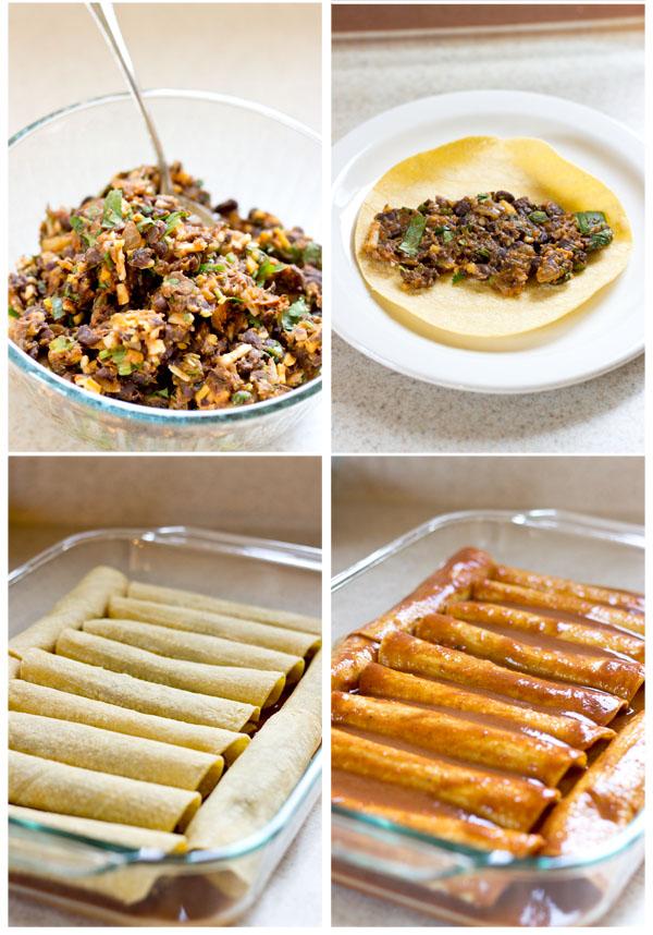 Black Bean Vegan Enchiladas Casserole #casserole #vegan #lunch #healthyrecipes