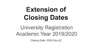 Extension of Closing Dates For University Registration 2019/2020