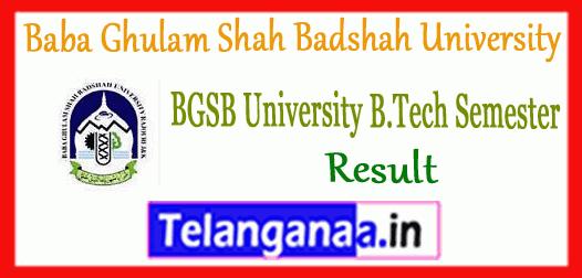 BGSB Baba Ghulam Shah Badshah University B.Tech 1st 3rd 5th 7th Semester Result