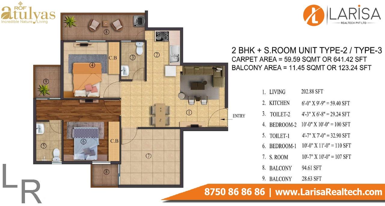 ROF Atulyas 93 2BHK+S Type-3 Floor Plan