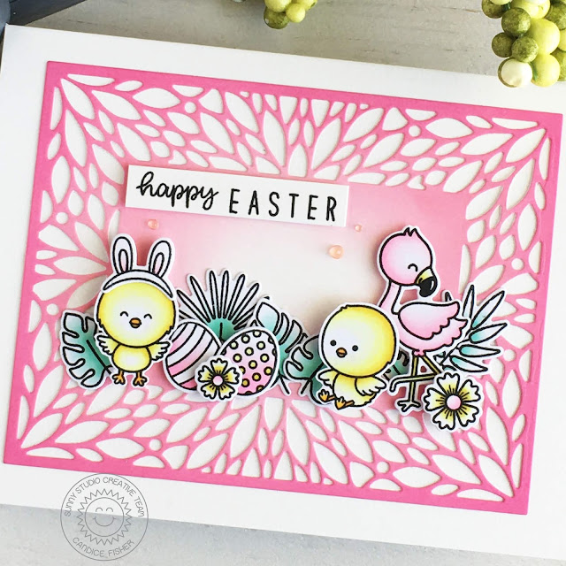 Sunny Studio Stamps: Blooming Frame Die Chickie Baby Fabulous Flamingos Kinsley Alphabet Dies Easter Card by Candice Fisher