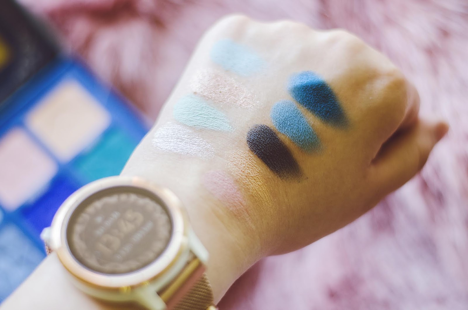 Jeffree Star Blue Blood Cosmetics swatch of shades Cullinan Mintea Crystal Flesh Im Cold Untouchable Priceless Power Blue Blood Deceased