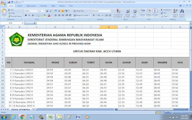 Jadwal Imsakiyah Ramadhan 1442 H Kabupaten Aceh Utara, Provinsi Aceh