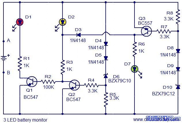 Circuit 3 Led Battery Monitor