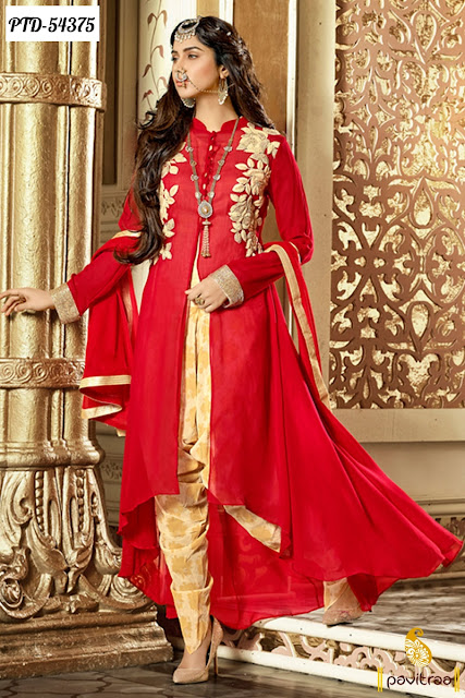 red color georgette anarkali salwar suit online shopping with free shipping charges in India