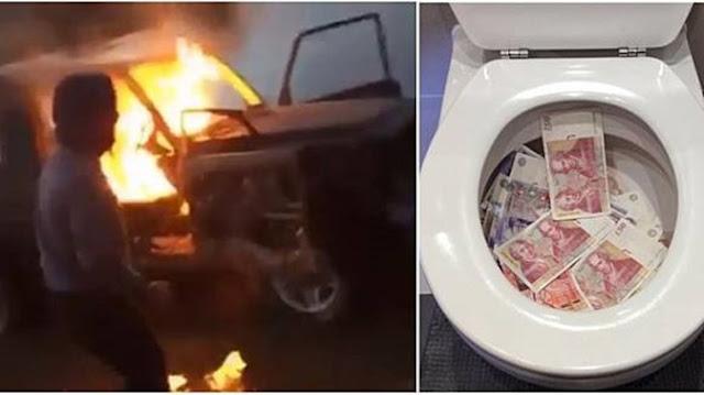 Kebanyakan Uang, Remaja Ini Bakar Mobil Seharga Rp. 1,6 Miliar dan Buang Uangnya ke Toilet