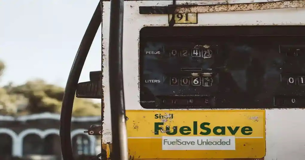 a fuel station picture giving message to save fuel