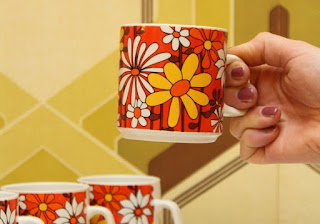 Vintage 1970s Floral Coffee Mugs
