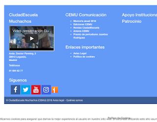Contacto en la web del CEMU (Ciudad Escuela Muchachos)
