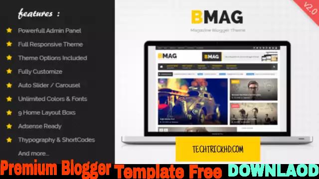 BMAG Magazine Responsive Free Premium Blogger Template