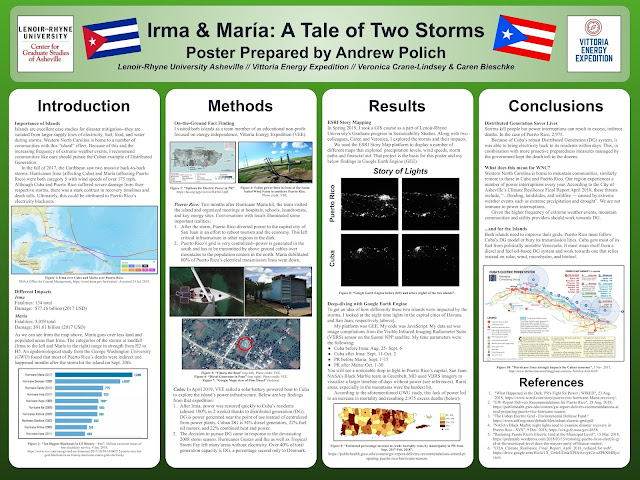 This poster compares Cuban and Puerto Rican Grids after Hurricanes Irma and Maria. It is a culmination of work I did with Vittoria Energy Expedition, an educational non-profit looking at energy independence as well as my sustainability studies at Lenoir-Rhyne University.