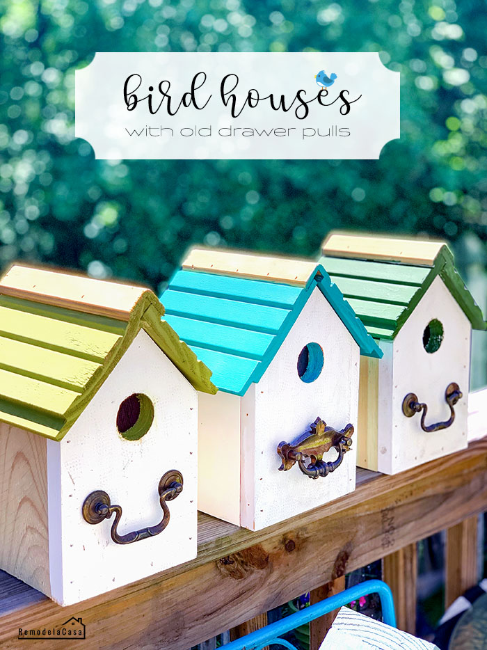 bird houses with old drawer pulls