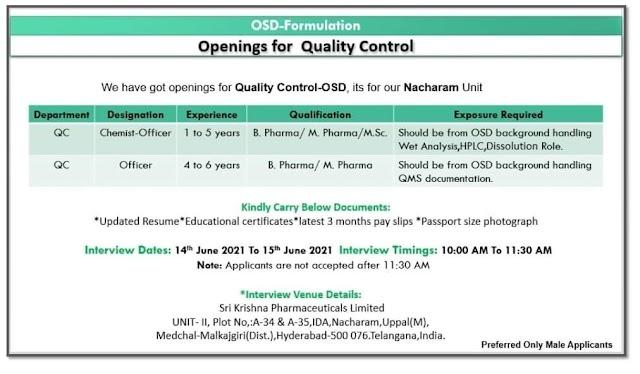 Sri Krishna Pharma   Walk-in interview for QC - OSD on 14& 15th Jun 2021