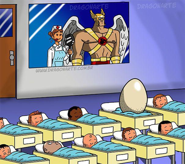Hawk's baby,ابطال خارقون مع أطفالهم