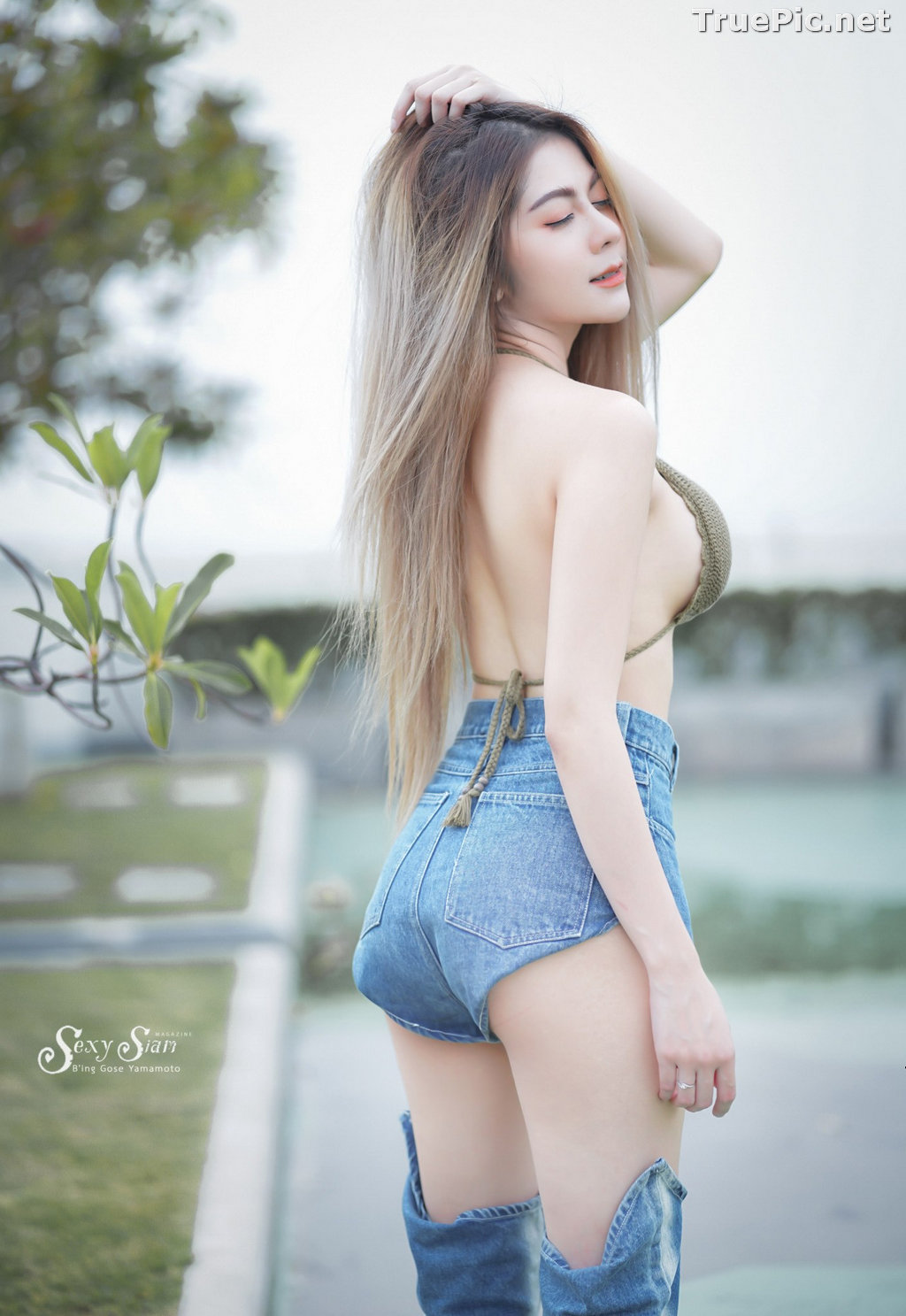 Image Thailand Model - Paeploy Panpeng - Green Tea Bra and Jean - TruePic.net - Picture-8