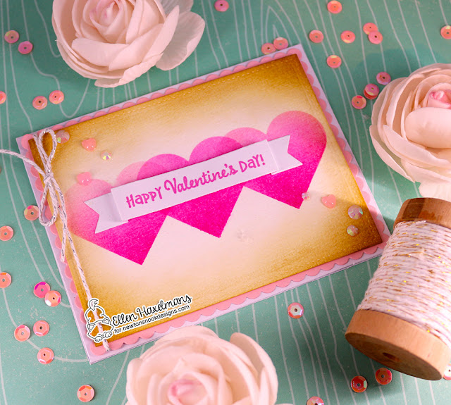 Heart Valentine Card by Ellen Haxelmans | Slimline Masking Hearts Stencil Set, Banner Trio Die Set, & Frames & Flags Die  Set by Newton's Nook Designs