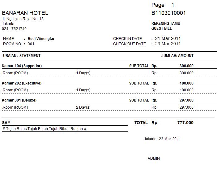 Faaqidaad Nota Hotel Jakarta