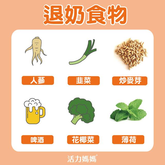 退奶食物,人參、啤酒、薄荷、花椰菜、韭菜、炒麥芽