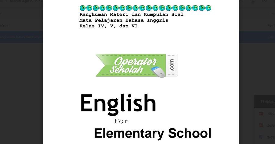 Rangkuman Materi Dan Kumpulan Soal Mata Pelajaran Bahasa Inggris Kelas Iv V Dan Vi Sd Operator Sekolah