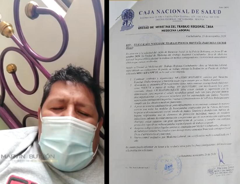 Suboficial rogó ver a su familia y ser atendido en un centro médico / RRSS
