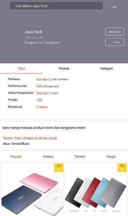 Profile Toko Laptop Jaya Tech di Platform Marketplace Shopee.