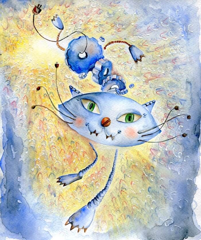 09-Inspired-By-Futurism-Veselka-Velinova-Paintings-of-12-Cats-in-Different-Art-Styles-www-designstack-co