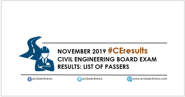 RESULT: November 2019 Civil Engineering CE board exam list of passers