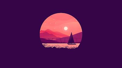 Paisagem Minimal Pôr do Sol Barco no Lago