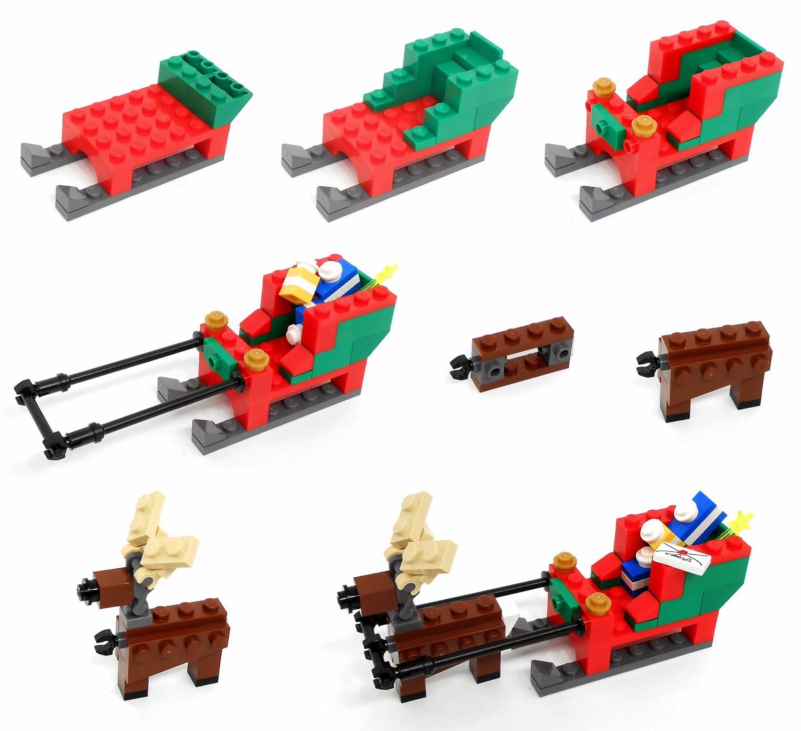120in Wide Giant Santa Sleigh Two Reindeer Set: Oz Brick Nation: LEGO S@H Exclusive 40059: Santa's Sleigh