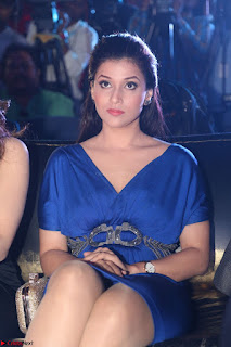 Mannara Chopra in Short Blue Dress at Rogue Movie Teaser Launch 1st March 2017 023.JPG