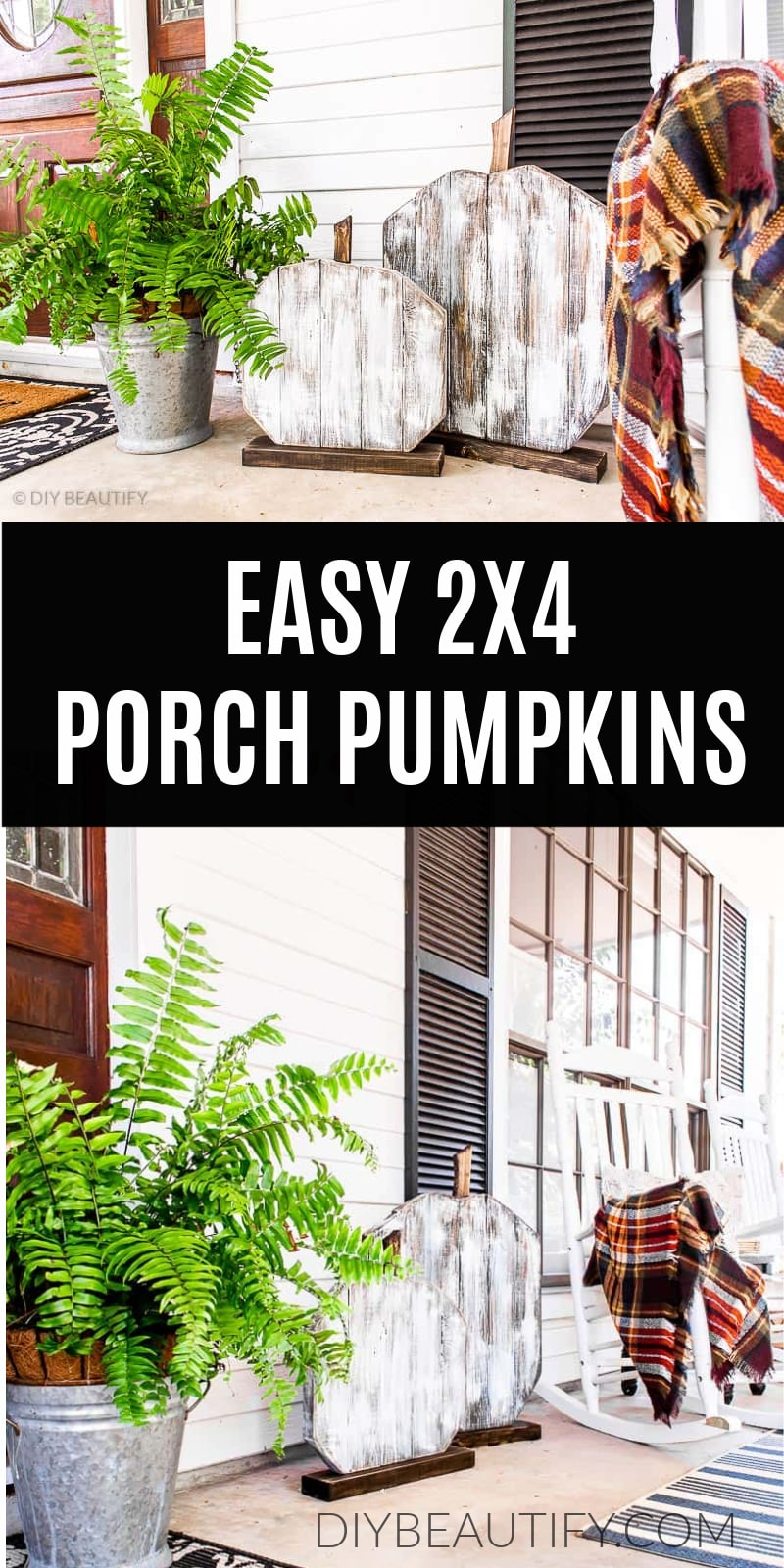 wood porch pumpkins