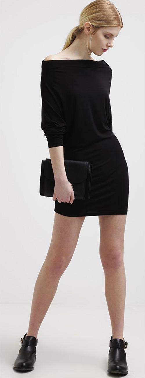 Robe courte noire manches longues Supertrash