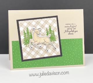 Stampin' Up! July-December 2021 Mini Catalog SNEAK PEEK ~ Peaceful Deer Card + Peaceful Prints DSP (Sale-a-Bration Gift) ~ www.juliedavison.com #stampinup #saleabration2021