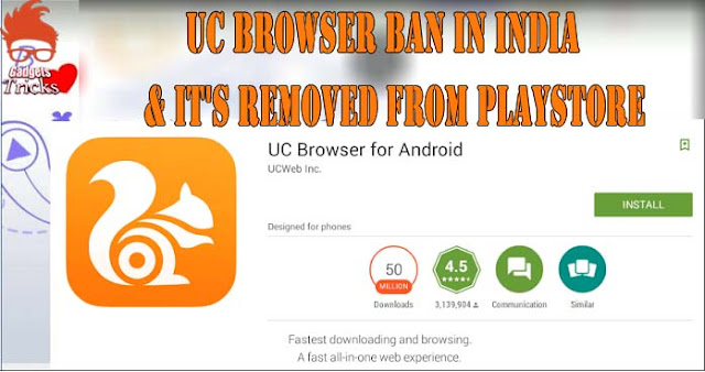 Uc Browser Ban Inwards India Due To User Information Theft As Well As It's Removed From Playstore