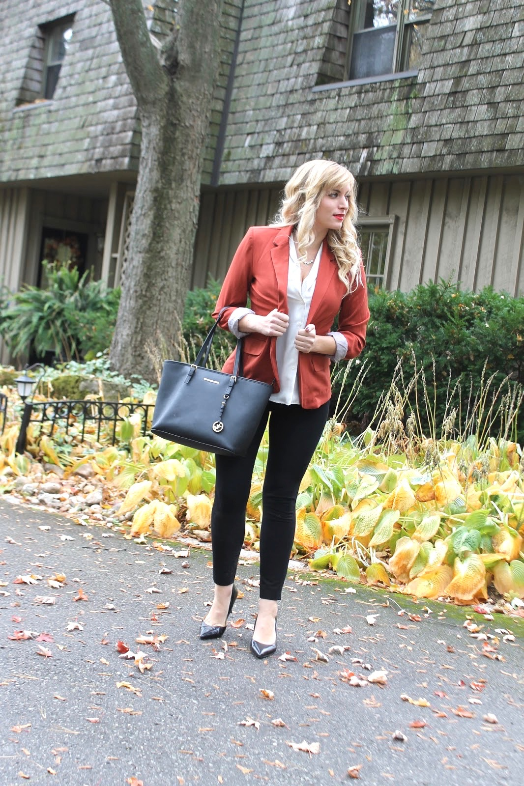fall office appropriate outfit orange blazer