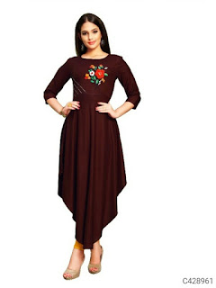 Rayon Anarkali Embroidered Kurtis