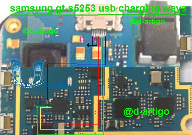 Samsung S5253 USB Charging Solution VIA Jumpers   gsmfixer