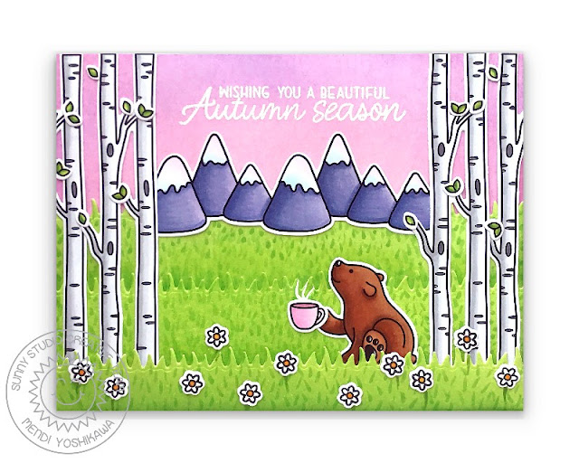 Sunny Studio Birch Trees & Mountains with Pink Sky Card (using Bear Hugs, Alpaca Holiday, Spring Scenes & Beautiful Autumn Stamps & Picket Fence Dies)