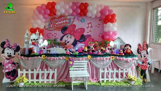 Decoração festa Minnie Rosa em mesa de tecido de pano para festa de aniversário infantil - Recreio - RJ