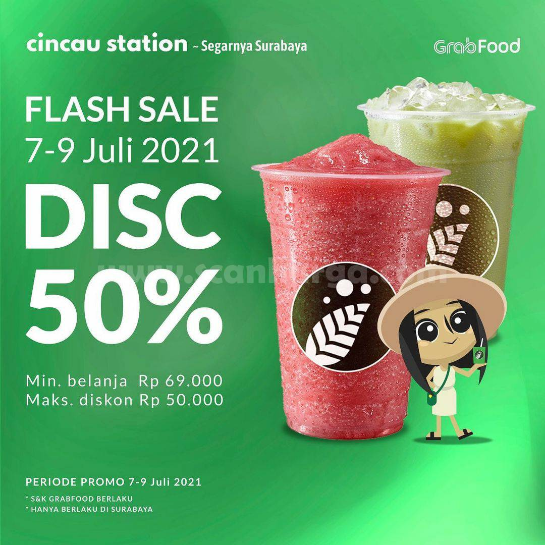 Cincau Station Promo Flash Sale Diskon hingga 50% via Grabfood