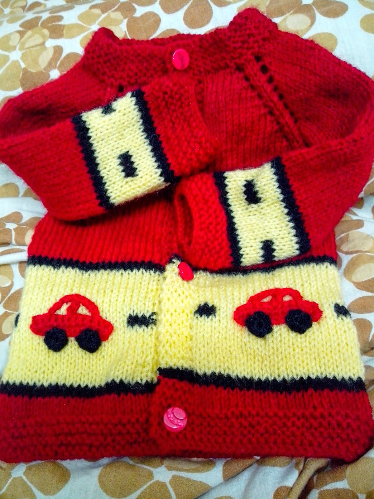 knitting pattern, red sweater, cars on a sweater